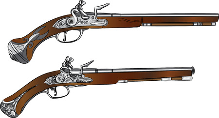 flintlock: vintage pair of flintlock pistols