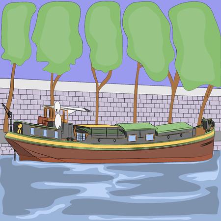 はしけ: ウォーター フロントの背景にセーヌ川バージします。
