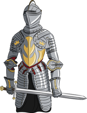 crusades: vector medieval knight in armor with a sword