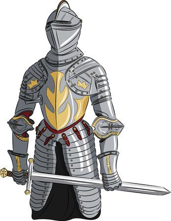 vector middeleeuwse ridder in harnas met een zwaard