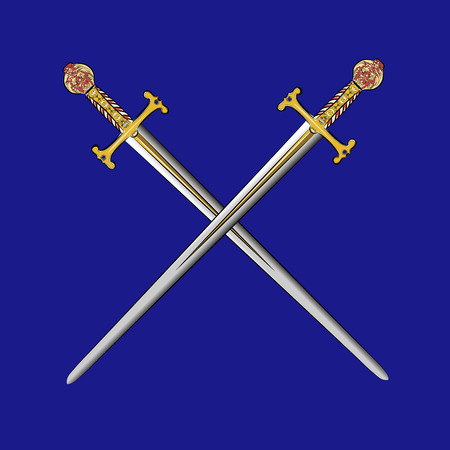vector crossed swords with gold inlay on a blue