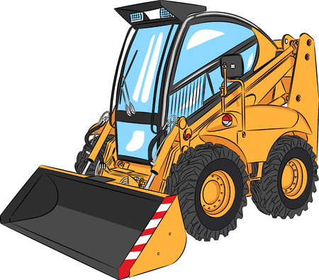 road grader: vector orange mini Excavator isolated on white background Illustration
