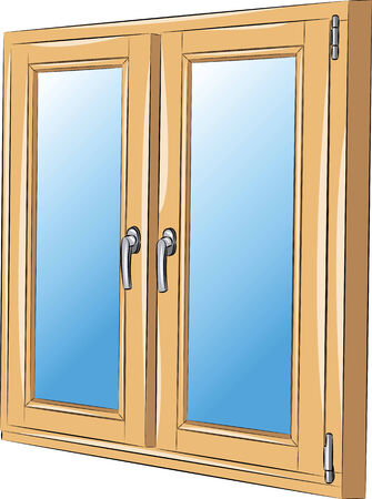 handles: vector window in a wooden frame with handles Illustration