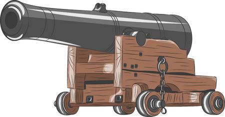 cast iron: vintage black ship gun on a gun carriage