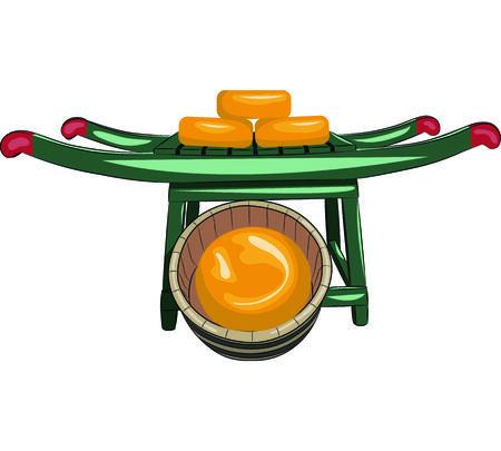parmigiano: vettore giallo cerchi di formaggio su una barella
