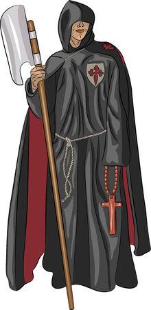 toog: inquisiteur monnik in een soutane met een hellebaard en een kruis op een witte achtergrond Stock Illustratie