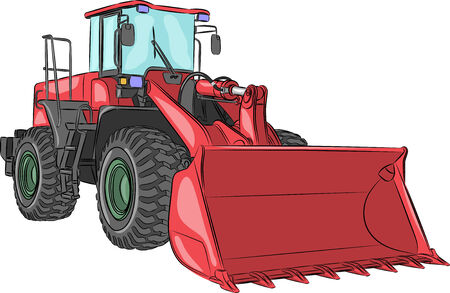 wheeled tractor: heavy red wheeled bulldozer with bucket on a white background Illustration