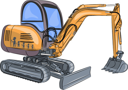 yellow crawler mini excavator isolated on white background