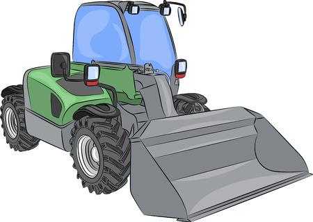 hydraulic platform: Rueda peque�a excavadora con cuchara aislada en el fondo blanco Vectores