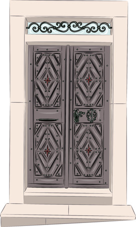 front porch: vector vintage wooden door with stairs isolated on white background Illustration