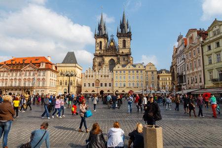 Prague, Czech Republic - October 3, 2014: Prague.Old Town Square.  A popular place for tourists and visitors. Prague.