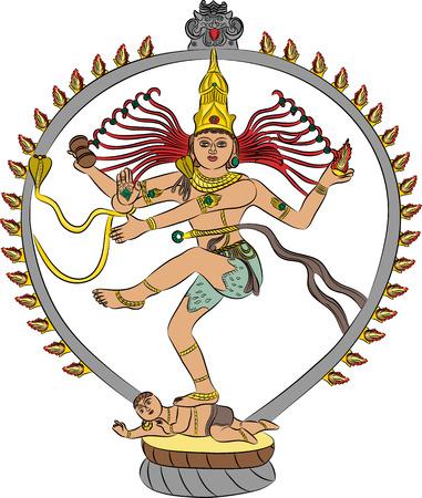 shakti: Indian goddess Kali dancing isolated on white background
