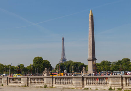 PARIS, FRANCE - Mai 5, 2014: Place de la Concorde. One of the most visited tourist areas of Paris. On the square is an Egyptian Luxor Obelisk.