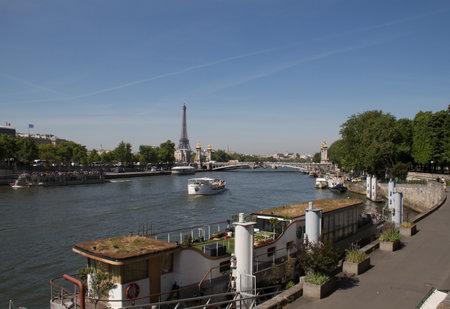 historical sites: PARIS, FRANCE - MAI 5, 2014: Le Pont Alexandre 3 in Paris. One of the most famous historical sites in Paris.