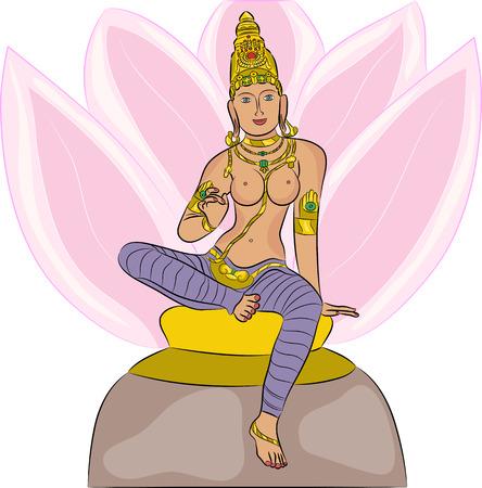 lakshmi: Hindu Goddess Lakshmi on a lotus flower isolated on white background
