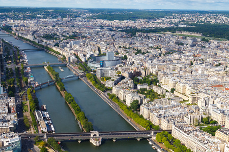 View from the heights of the Eiffel Tower at Paris, Seine, Swan Island. Editorial