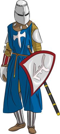 cavaliere medievale: vector cavaliere medievale in armatura con la spada e scudo isolato su sfondo bianco Vettoriali