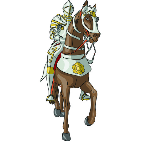 horseback: vector medieval knight in steel armor with a spear on horseback