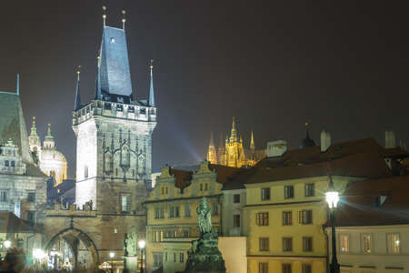Prague, Czech Republic - September 30, 2014: View of Prague and the Vltava River Promenade. Excursions on the Vltava River on tourist ships.
