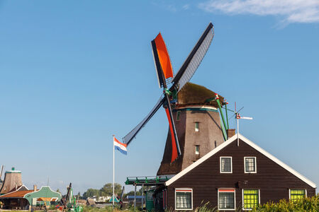 Amsterdam, Netherlands - August 4, 2014: Traditional dutch windmills Netherlands.