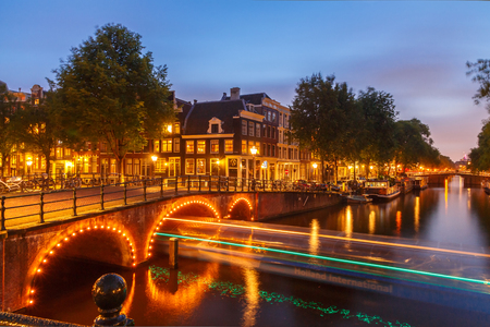typically dutch: Amsterdam, Netherlands - August 6, 2014: Canals of Amsterdam. Favorite place for walking and leisure travelers. Editorial