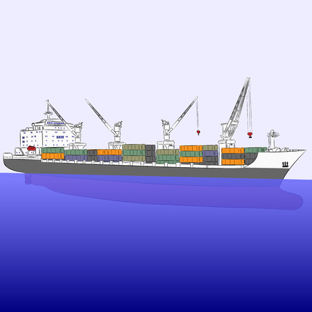 loading dock: A large cargo ship carrying containers on a blue sea background.