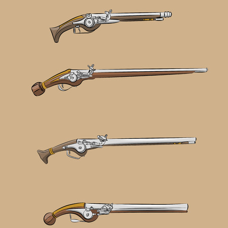 singly: Four antique singly charged gun on a brown background