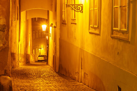 Prague, Czech Republic - October 1, 2014: Old Prague street at Prague Castle at night.