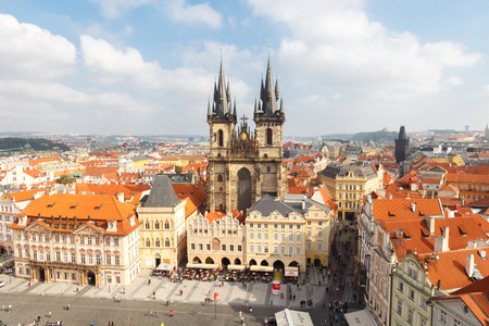 Prague, Czech Republic - October 3, 2014: Old tiled roofs of the old place. From the observation deck of the tower the Old Town Hall.