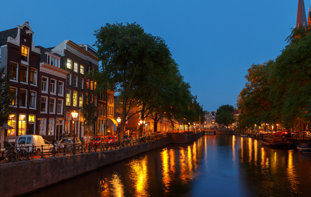 typically dutch: Amsterdam, Netherlands - July 30, 2014: Canals of Amsterdam. Favorite place for walking and leisure travelers. Stock Photo