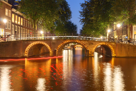 Amsterdam, Netherlands - July 30, 2014: Canals of Amsterdam. Favorite place for walking and leisure travelers. photo