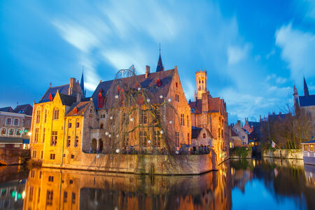 Bruges, Belgium - December 25, 2014: Quay of the rosary. One of the most visited tourist attractions. Editorial
