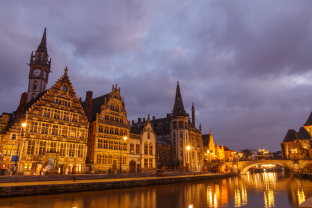 Ghent, Belgium - December 30, 2014: The historic center of Gent, embankment Graslei. Former center of the medieval harbor. Editorial