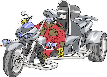 motociclista: Motorista en la gran triciclo de plata aislado en el fondo blanco. Vectores
