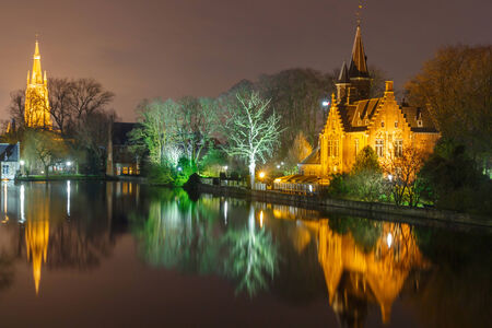 bruges: Bruges, Belgium - December 26, 2014: Old park Minnewater in Bruges. One of the favorite tourist destinations and townspeople.