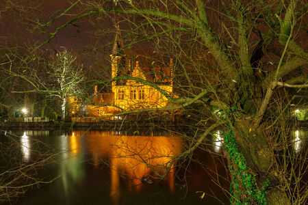 Bruges, Belgium - December 26, 2014: Old park Minnewater in Bruges. One of the favorite tourist destinations and townspeople.
