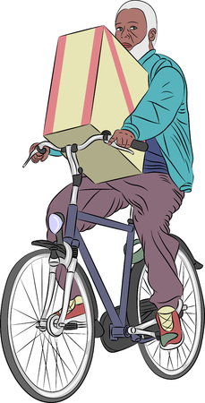 transporting: Black man with a beard transporting a box on a bicycle.