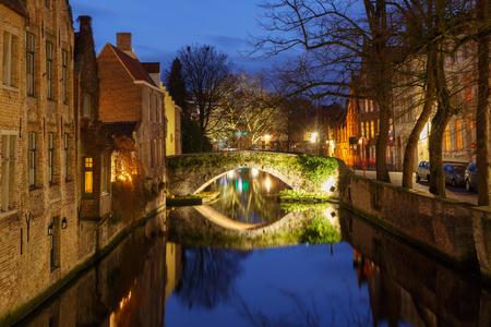 bruges: Green canal in Bruges at night.