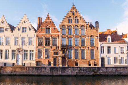 rei: Traditional Belgian facades of houses on the canal Spiegel Rei in the city of Bruges.