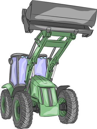 wheeled tractor: vector green heavy wheeled tractor isolated on white background