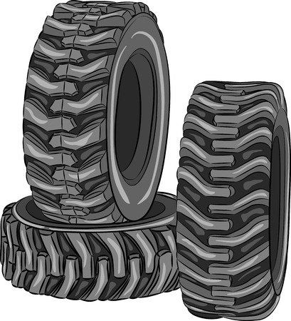 vulcanization: Car tires with a large tread isolated on white background. Illustration
