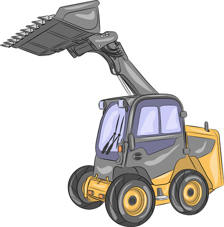 Compact mini loader with raised bucket isolated on a white background.
