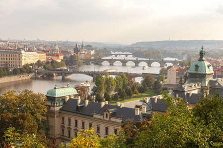 excursions: Prague, Czech Republic - October 3, 2014: View from the heights of Prague and the Vltava River Promenade. Excursions on the Vltava River on tourist ships. Stock Photo