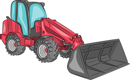 Compact mini loader with bucket isolated on a white background. Vector