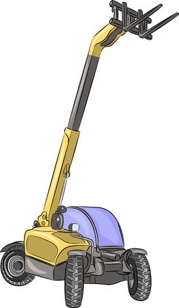 telescopic: Cargadora de ruedas telesc�pica aislado en un fondo blanco. Vectores