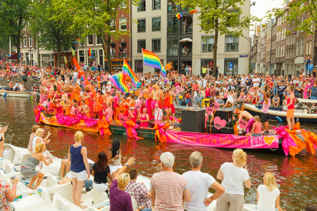 annual event: Amsterdam, Netherlands - August 2, 2014: Gay Pride -   participants in the annual event for the protection of human rights and civil equality.