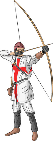 Archer in clothes of the Crusader isolated on a white background.