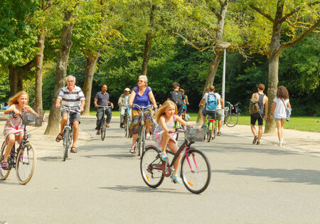 bicyclists: Amsterdam, Netherlands - August 5, 2014: Bicyclists in Amsterdam.