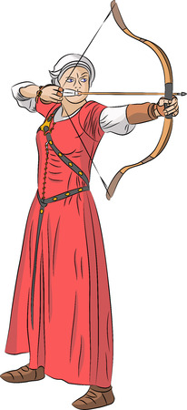 amazon: Archer woman in a red dress shoots a bow isolated on white background. Illustration