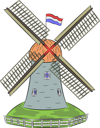dutch landmark: Windmill on the green grass surrounded by a fence. Illustration